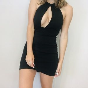 Tobi black plunge backless mini dress